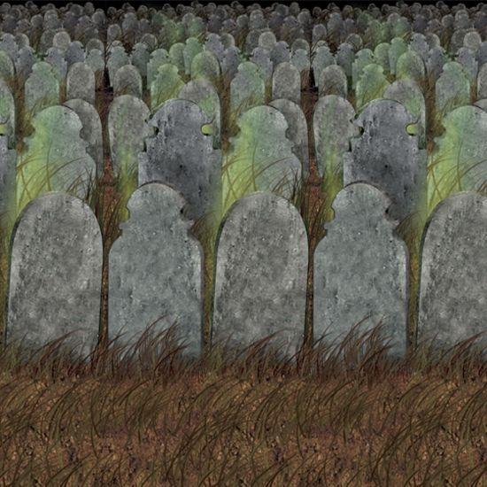 Halloween scenesetter begraafplaats  Halloween scenesetter begraafplaats. Deze scenesetter met afbeeldingen van grafstenen heeft een formaat van ongeveer 121 x 914 cm. Ideale decoratie voor Halloween of een horror feestje.  EUR 24.95  Meer informatie
