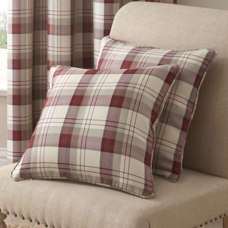 Red Balmoral Cushion | Dunelm