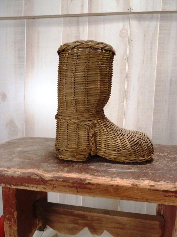 Vintage Wicker Basket Boot Shaped Primitive Decor