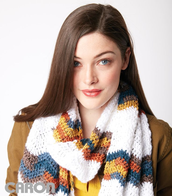 Chevron Stripes Crochet Scarf One ball man color one ball contrast