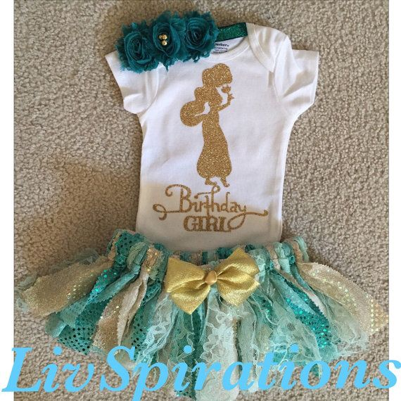 Step into a whole new world with this one of a kind Princess Jasmine inspired Onesie or Shirt (upon request) , Skirt and matching headband set will