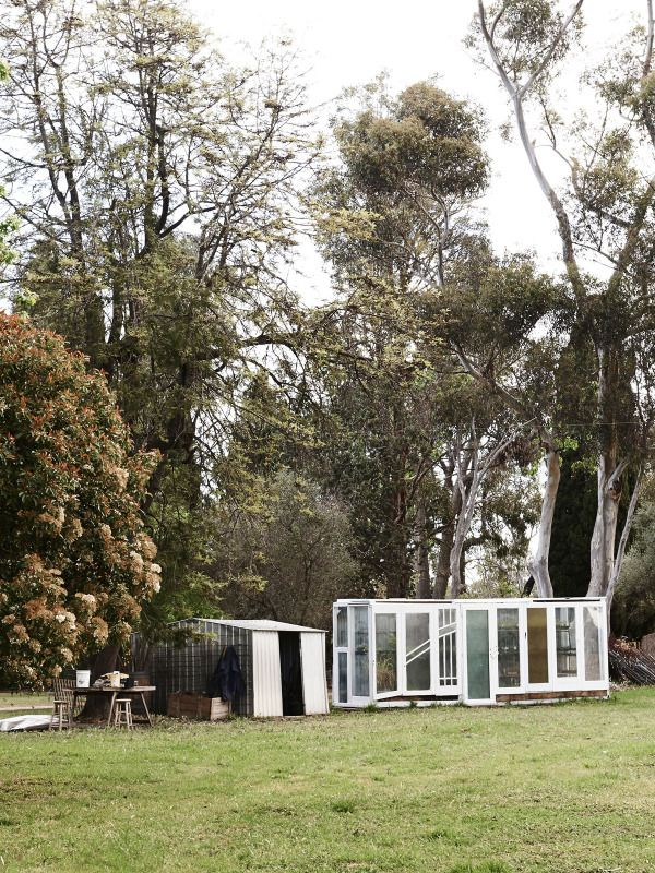 Matt and Lentil's greenhouse, built from old doors  Photo – Eve Wilson for The Design Files.