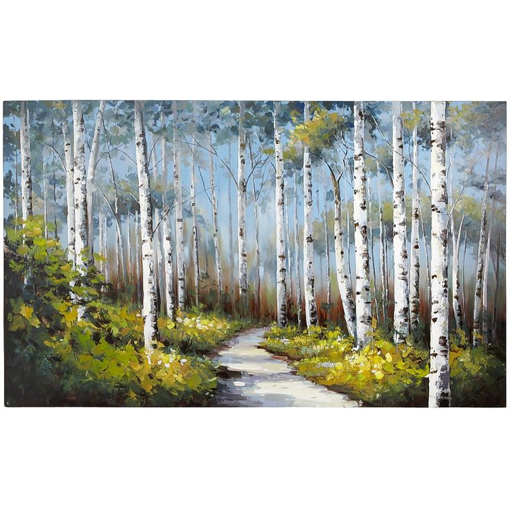 """Blue Birch Trees Art - Slender white birches stand in vivid contrast to clusters of delicate yellow blooms on a perfect blue sky. Rich in detail and bold saturated color, this unique hand-painted acrylic reproduction makes a strong statement. Is it speaking to you? Blue/multicolor,  60""""W x 1.37""""D x 36""""H,  Paint, fir wood, cotton canvas,  Hand-painted."""