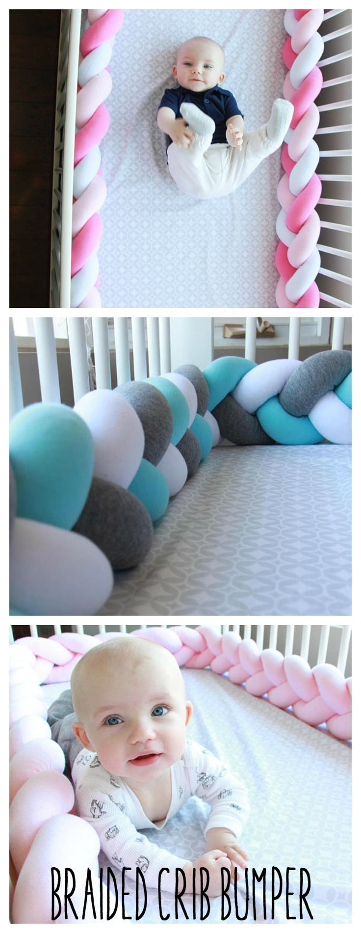 Braided Crib Bumper. Perfect for a baby shower gift. #baby #braided #cribbumper