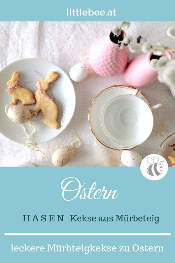 Hasen Kekse aus Mürbeteig für die Osterjause weinfaches Rezept - Teig ohne Nüsse - süsse Kekse für Ostern