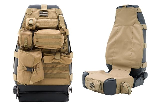 Smittybilt's G.E.A.R. Tactical Seat Covers. LOVE this!!  All the pockets make me dizzy with joy!!