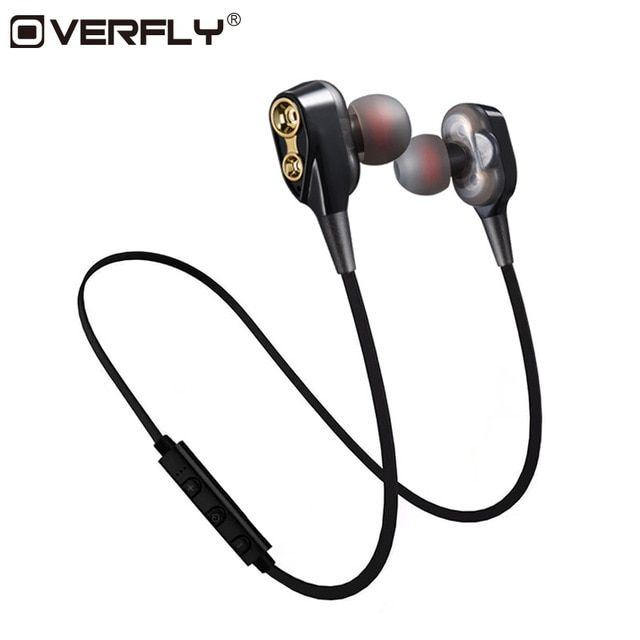 Overfly Double Dynamics Bluetooth Earphone Wireless Headset Headphones With Mic Stereo Earphones For Mobile Phone Sports Review Headphone With Mic