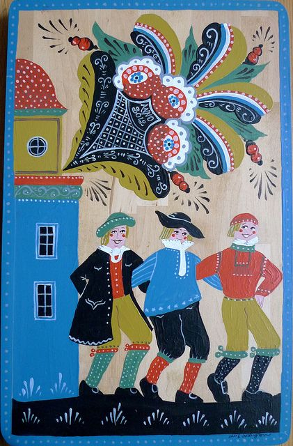 Swedish Folk Art. Dancing men   --   Leif Sodergren Swedish Folk Art