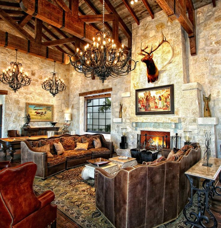 Rustic old world design with truss ceiling and stone for Old world home designs