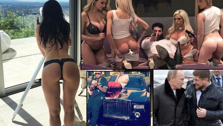 PENGER, PISTOLER OG PUTIN: Instagram tillater mye, men ikke mensen. Her har vi Dan Bilzerian, Vladimier Putin og Lavish P. i fri dressur. Foto: Instagram