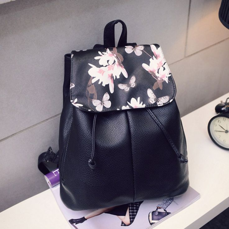 2017 Fashion Floral Printing Bag Women Bucket Backpack Soft Leather Drawstring Backpack Schoolbag for Teenagers Girls