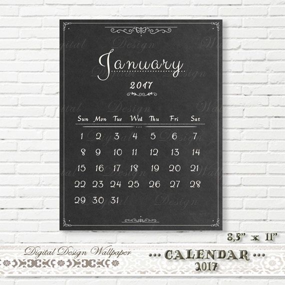 Printable Calendar 2017Chalkboard by DigitalDesignPaper on Etsy