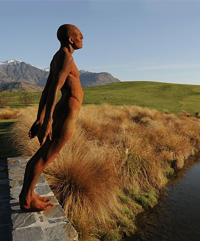 Solace in the wind - Max Patte. one of Michael Hills sculpture collection on his golf course near queenstown nz.