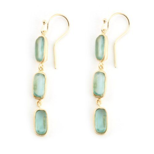 Teal Glass Drop Earrings by Michael Vincent Michaud