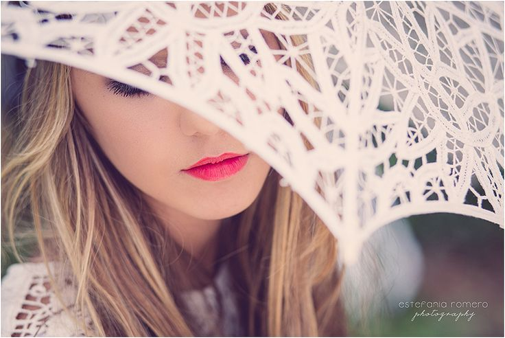 creative photo with beautiful lace umbrella and red lips, pretty girl, boho girl, fashion photography by Estefania Romero