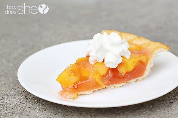Jello Peach Pie with 3 ingredient Bisquick crust & jello-fresh peach filling.