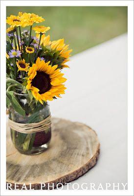 Sunflower CenterpieceMasons, Rehearsal Dinner, Mason Jarssunflow, Sunflowers Centerpieces, Mason Jars Centerpieces, Flower Ideas, Mason Jars Sunflowers, Wedding Centerpieces, Honey Bees