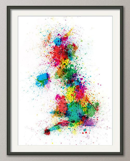 Great Britain UK Paint Splashes Map Art Print 18x24 by artPause