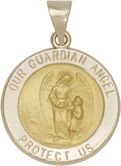FINE JEWELRY 14K Yellow Gold Guardian Angel Medallion Pendant.  Angel of God. Angels protect us.