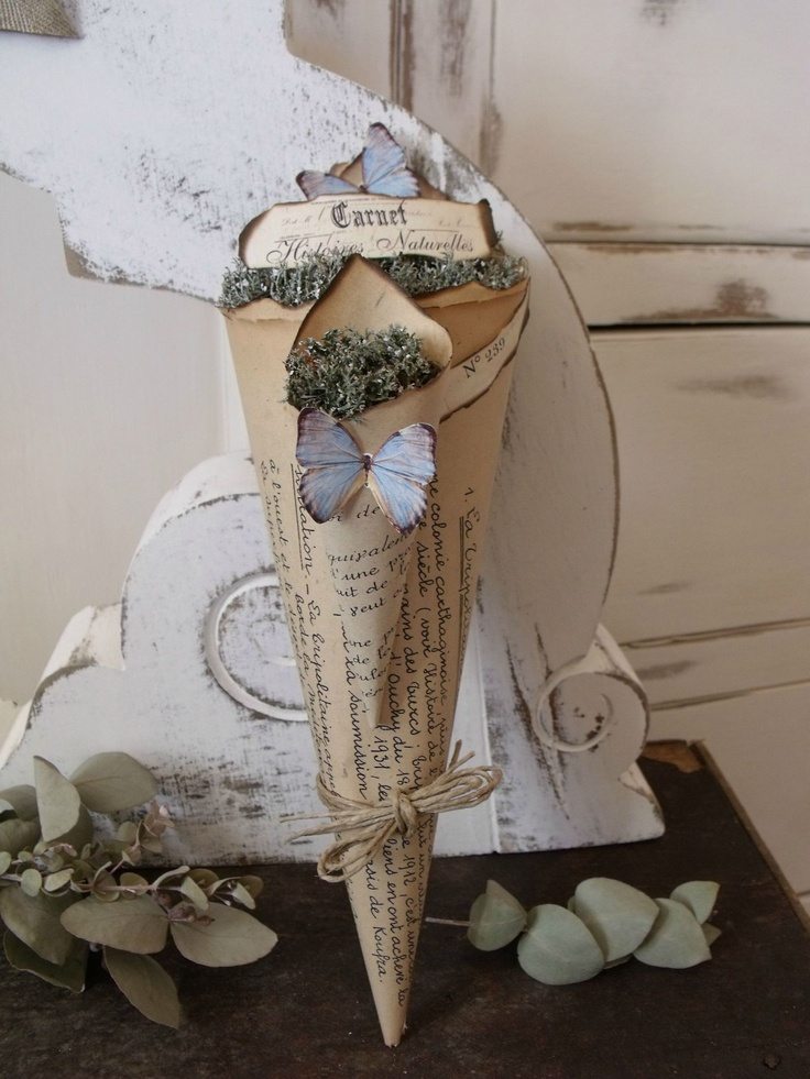43 best images about paper cone candy bouquet on for Cardboard cones for crafts