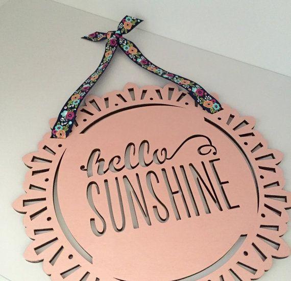 Hello Sunshine Art  Navy Blush Nursery  by EthelsGranddaughter