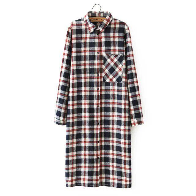 Купить товарQb37 женщин рубашка мода осенью хлопок плед принтом спереди назад кнопки карман с длинным рукавом с отложным воротником свободного покроя марка в категории Платьяна AliExpress.                Размер справки:                                Размер s: бюст: 94 см длина: 102 см Плечо 38 с