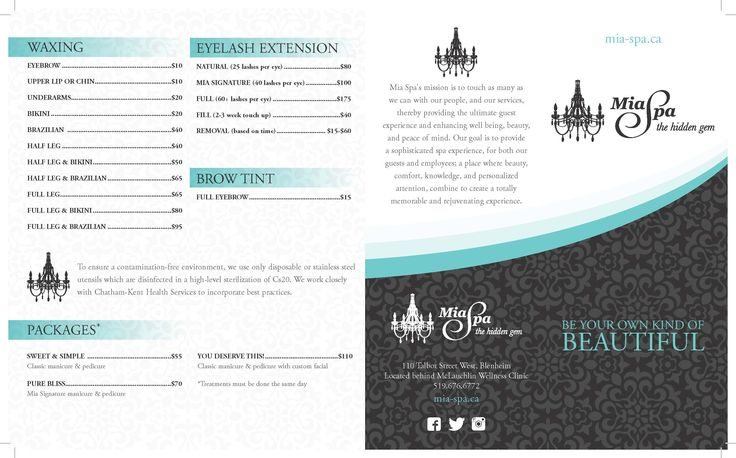 Mia Spa Treatment Services  Brochure . 519-676-6772. Check website www.mia-spa.ca. Address 110 Talbot Street West . Blenheim Ontario .