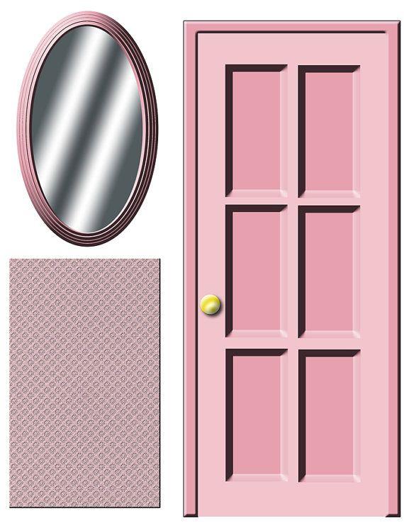 Digital Download Dollhouse Decals Pink Door And Ot Printatoy Dlya