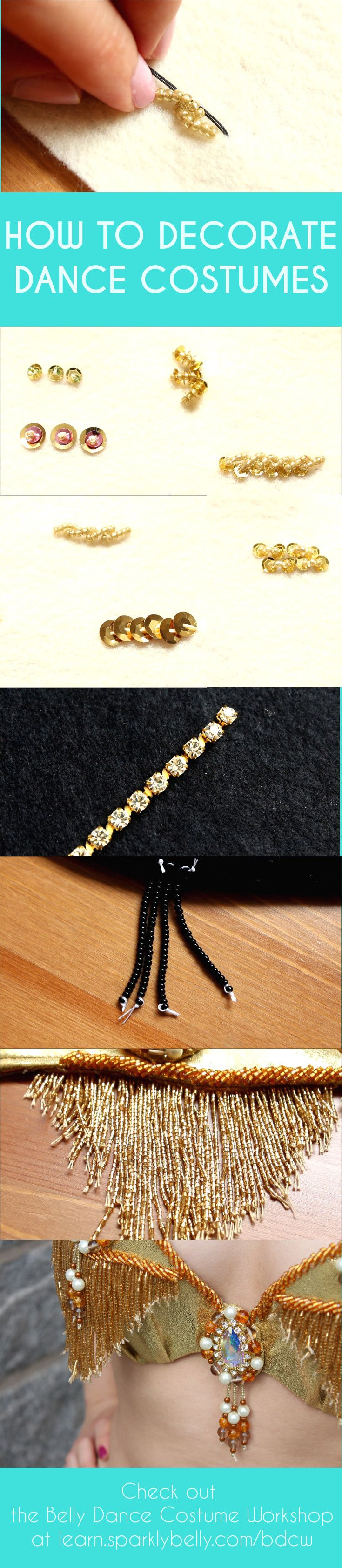 How to sew beads and sequins, how to make beaded fringes, how to sew on rhinestones and more...!