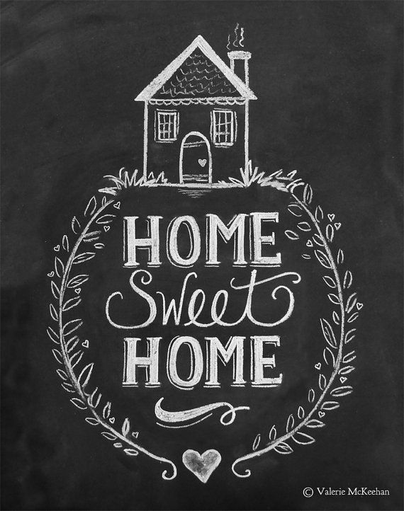 Home Sweet Home Print Chalkboard Art Home Sweet by LilyandVal