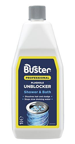 Buster 1 Litre Professional Shower and Bath Plughole Unblocker Drain Opener - Pack of 3
