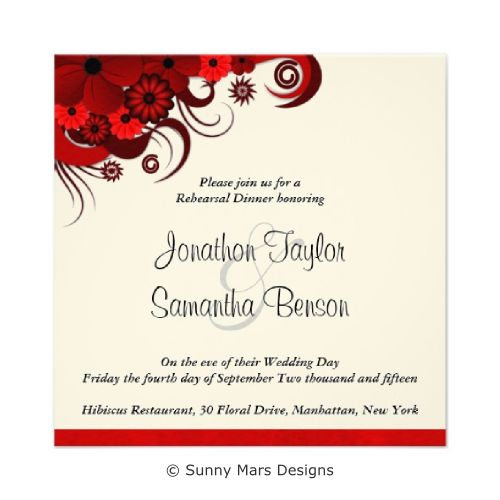 Red Floral Hibiscus Wedding Rehearsal Dinner Invitations by sunnymars  of SunnyMarsDesigns in association with Zazzle. This formal custom wedding invite features a dark red swirly tropical hibiscus flower decoration design. This invitation is fully customizable and can be changed to suit your wedding requirements and can be used for other formal black tie party events and other celebrations.  Click through to see MATCHING WEDDING STATIONERY and related products.
