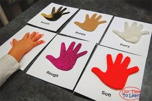 Make a touch texture book shaped like your child's hand.