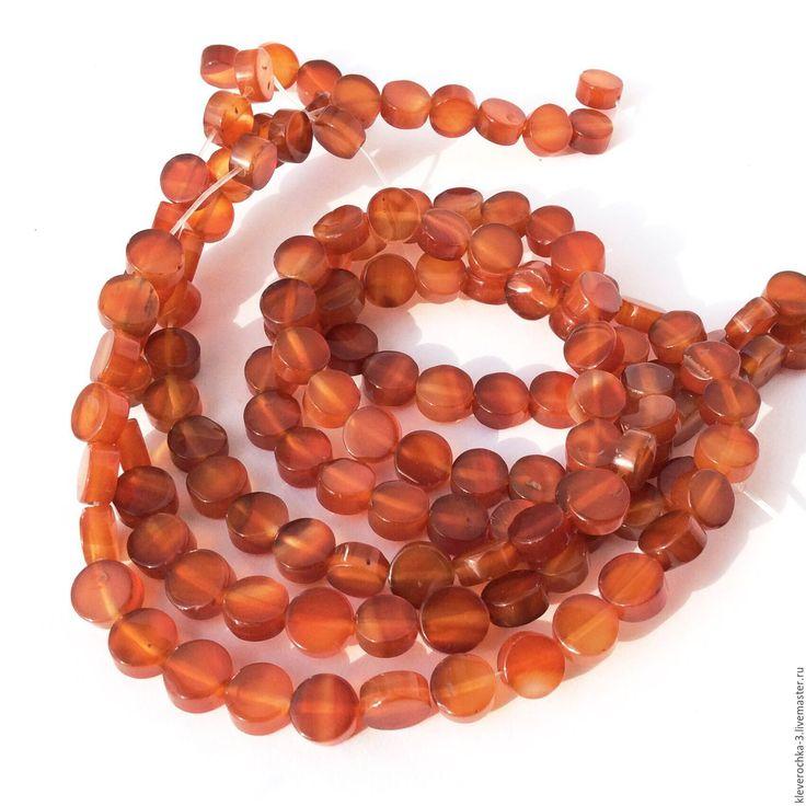 Купить Сердолик 8 мм таблетка бусины камни для украшений - рыжий, оранжевый