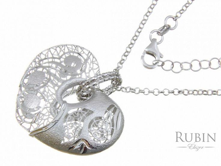 Ródiumos ezüst rolo nyaklánc szív medállal