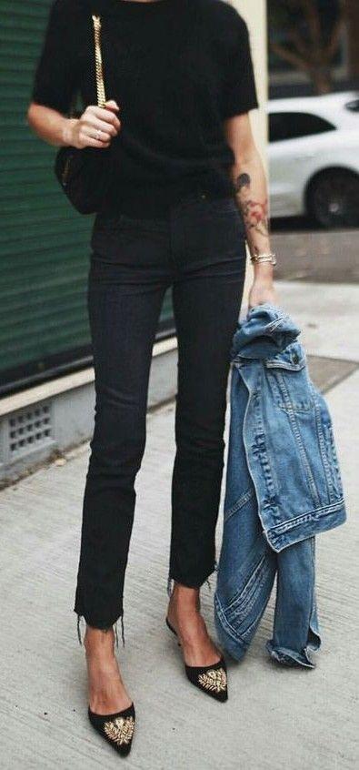 pointed flats. all black. vintage denim jacket.