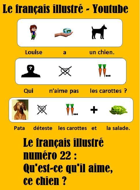 Le français illustré numero 22 : Qu'est-ce qu'il aime, ce chien ? / Qui a un chien ? Louise a un chien. Qui n'aime pas les carottes ? Pata déteste les carottes et la salade. Mais Pata adore manger les chaussures de Louise./ https://www.youtube.com/watch?v=Mp_tm0-hops