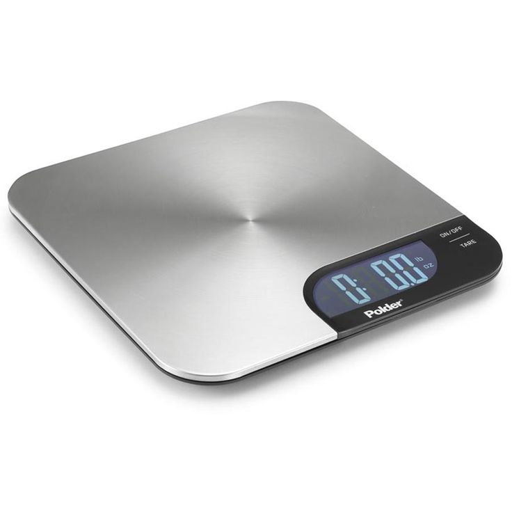 Slimmer Stainless Digital Kitchen Scale from Polder with 11 lb. capacity and backlit display.