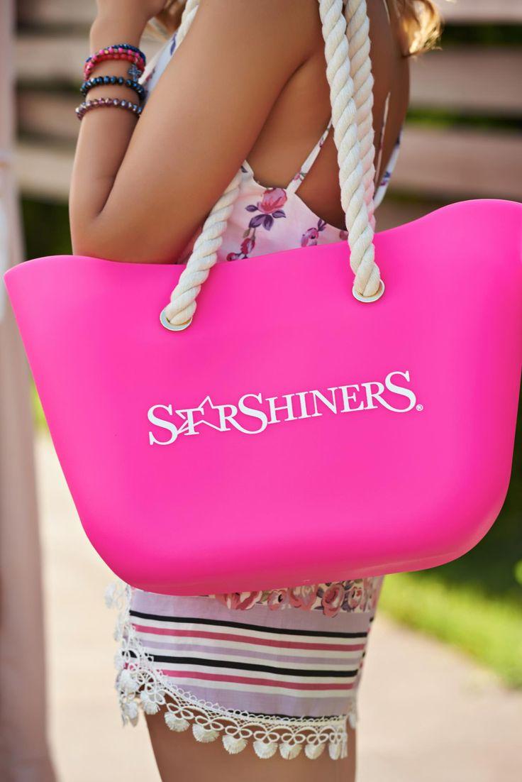StarShinerS Lollipop Pink Beach Bag, women`s bag, woven straps, medium grab handles, writing print