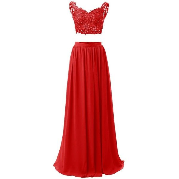 Dresstells Long Prom Dress Two Pieces Evening Party Dress Illusion... (260 BRL) ❤ liked on Polyvore featuring dresses, red cocktail dress, 2 piece prom dresses, prom dresses, red evening dresses and 2 piece homecoming dresses