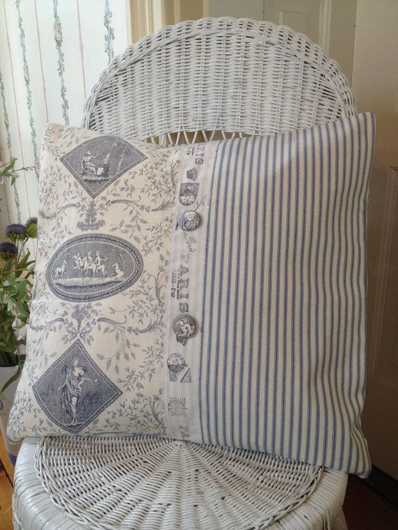 LOVE THIS! French Country Pillow Cover, Shabby Chic Pillow Cover, Blue Toile Pillow Cover, Ticking Pillow Cover