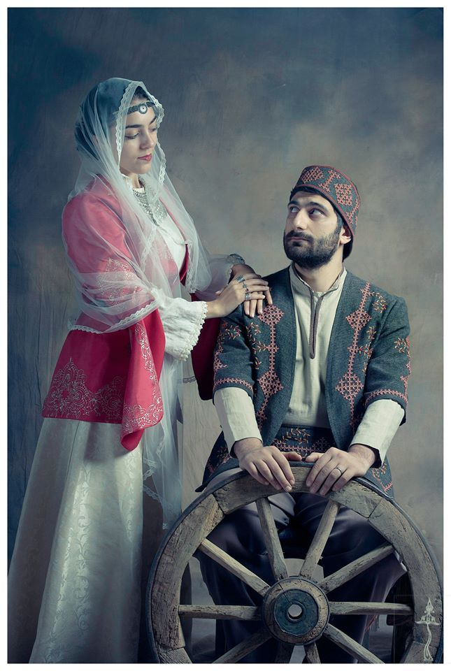 Central Asia | Portrait of an Armenian couple wearing traditional clothes, Armenia | © Atelier Marshalyan