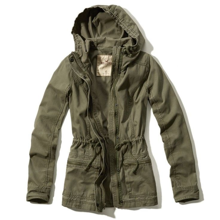 Details about Hollister!Girls New Hooded Olive Green Cotton Parka