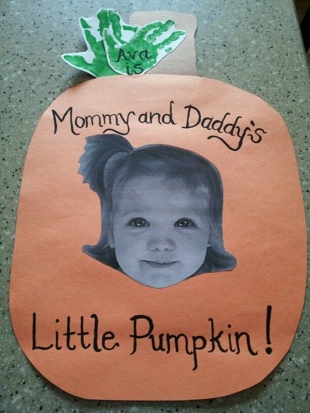 """Mommy & Daddy's Little Pumpkin"" Craft with Handprint Leaves"
