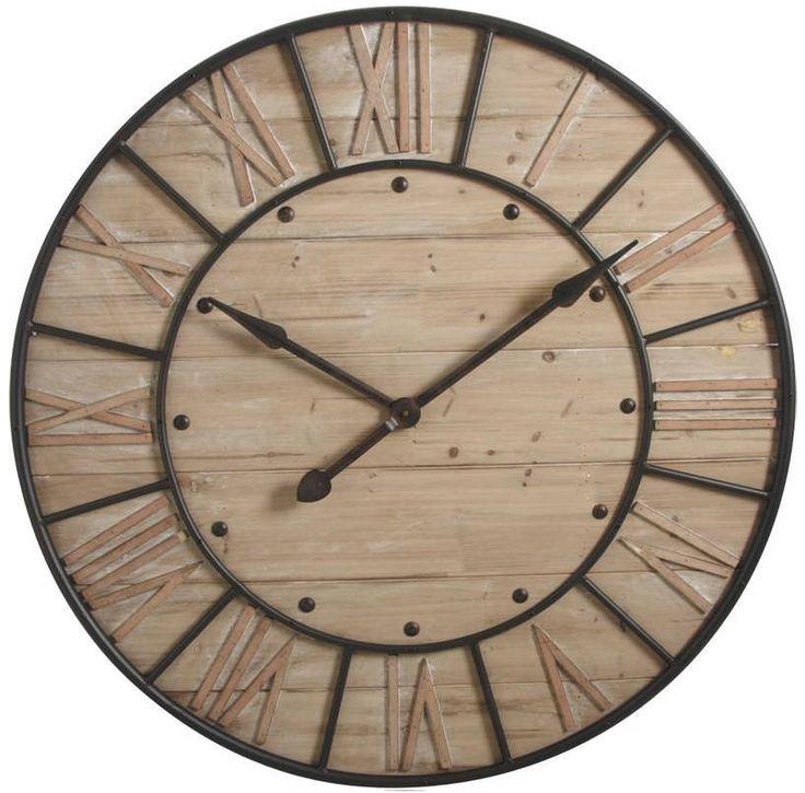 Horloge en bois et métal industrie : Classique AUBRY GASPARD sur Jardindeco.com