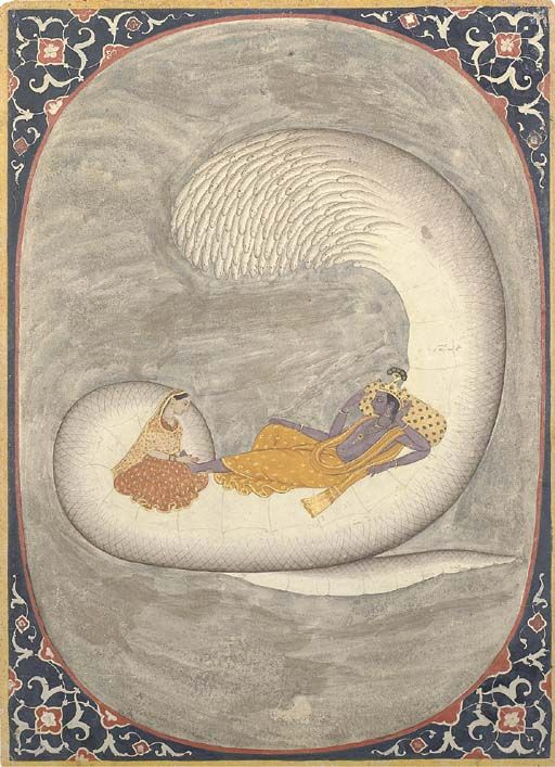 so lovely. Vishnu reclining on the serpent Ananta Shesha. Via Wikipedia