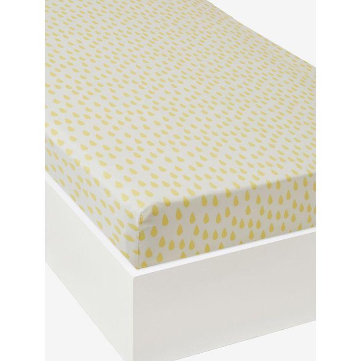 Drap-housse bébé Twisty Show VERTBAUDET : prix, avis & notation, livraison.  Goutte, gouttelette de soleil sur ce drap-housse plein de fraîcheur, aux belles qualités : douceur, solidité et tenue des couleurs. Il s'adapte parfaitement au matelas de bébé, même le plus petit ! DIMENSIONS : Existe en 3 tailles : 40 x 80 cm, 60 x 120 cm et 70 x 140 cm.Imprimé all-over petites gouttes jaunes.Elastiqu&#...