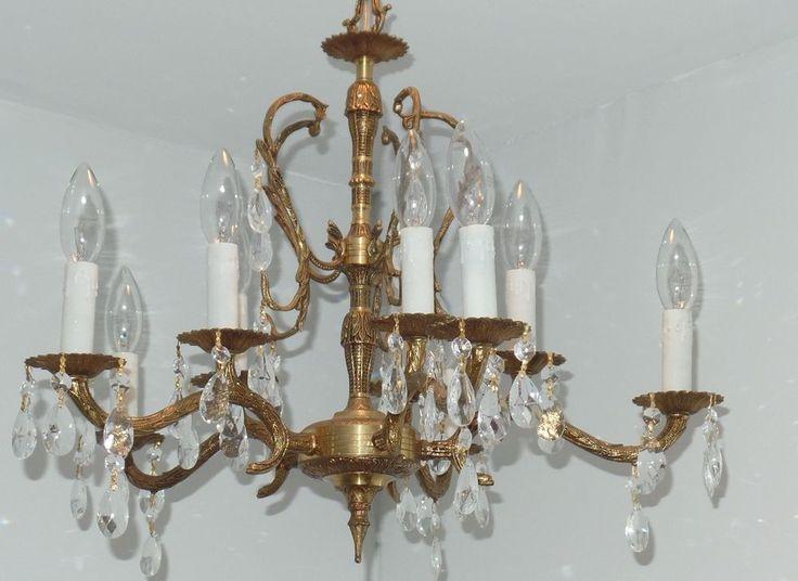 Vintage 10 Light Brass Chandelier with Prisms- Spain - 153 Best Vintage Chandeliers & Sconces Images On Pinterest