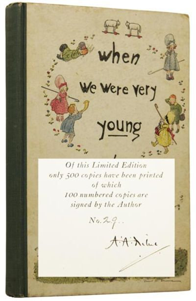When We Were Very Young. by MILNE, A. A. (1882-1956), [SHEPARD, Ernest H., illustrator] New York, NY: E. P. Dutton, 1924.. SIGNED LIMITED EDITION, First US. Octavo, pp.xiv 100 [2]. Illustrated throughout by Ernest H. Shepard (1879-1976). Number 29 of just 100 copies SIGNED BY THE AUTHOR in black ink to limitation page, from a limited ed... more Offered By Adrian Harrington Rare Books