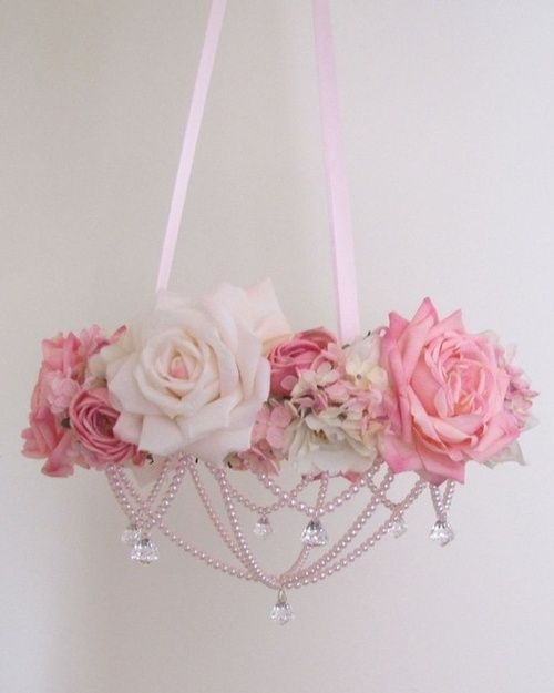 shabby chic chandelier with flowers & pearls
